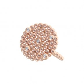 Ring Silver 925 pink gold plated with white zirconia - Daphne