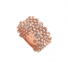 Ring Silver 925, pink gold plated with white zirconia - Daphne