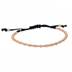 Bracelet in silver 925 pink gold plated with white zirconia - Amalthia