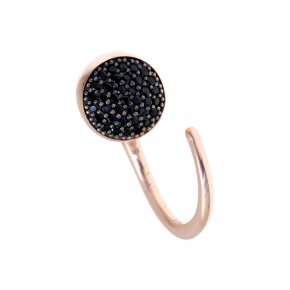 Ring Silver 925 pink gold plated with black spinel - Abyssos