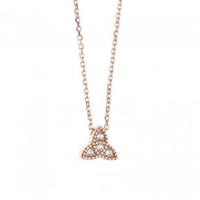 Necklace in silver 925 pink gold plated with white zirconia - Mitos