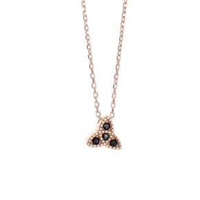 Necklace in silver 925 pink gold plated with black spinel - Mitos