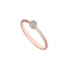Ring Silver 925 pink gold plated with white zirconia - Mitos