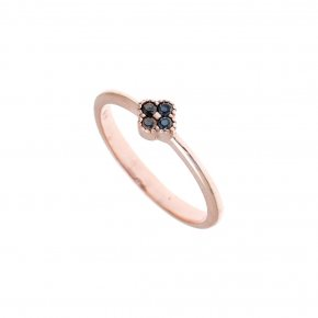 Ring Silver 925 pink gold plated with black spinel - Mitos