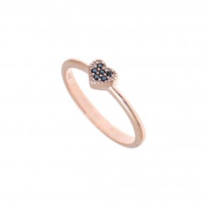 Ring Silver 925, pink gold plated with black spinel - Mitos