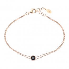 Bracelet in silver 925 pink gold plated with black spinel - Chromata