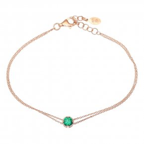 Bracelet in silver 925, pink gold plated with greenzirconia - Chromata