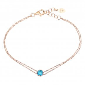 Bracelet in silver 925 pink gold plated with light blue zirconia - Chromata