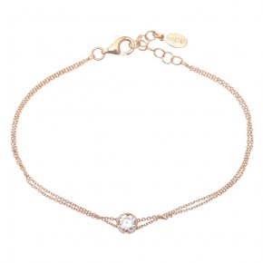 Bracelet in silver 925, pink gold plated with white zirconia - Chromata