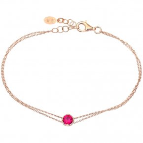Bracelet in silver 925 pink gold plated with red zirconia - Chromata