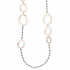 Necklace out of metal pink gold plated with hematite - Armonia