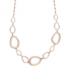 Necklace out of metal pink gold plated withhematite - Armonia