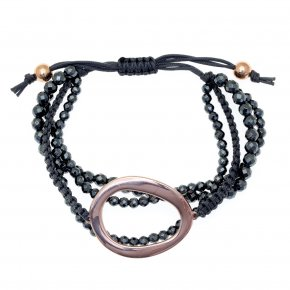 Bracelet out of metal pink gold plated with hematite - Armonia