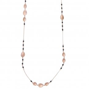 Necklace out of Metal pink gold plated with onyx - Anemos