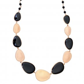 Necklace out of Metal pink gold plated with onyx andenamel - Anemos