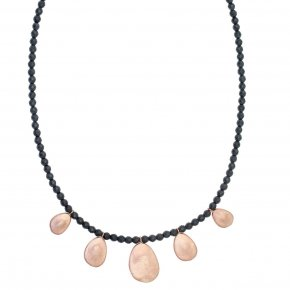 Necklace out of Metal pink gold plated with hematite - Anemos