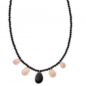 Necklace out of Metal pink gold plated with onyx and enamel - Anemos