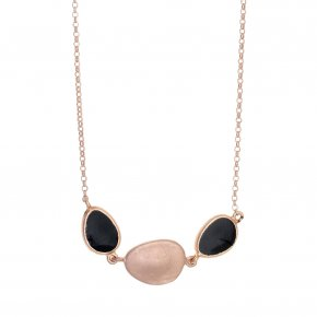 Necklace out of Metal pink gold plated with enamel - Anemos