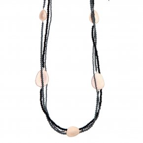 Necklace out of Metal pink gold plated with onyx and hematite - Anemos