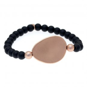 Bracelet out of metal pink gold plated and onyx - Anemos