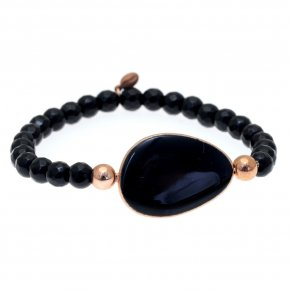 Bracelet out of metal pink gold plated with onyx and enamel - Anemos