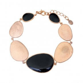 Bracelet out of metal pink gold plated and enamel - Anemos