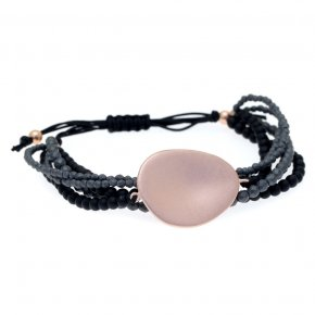 Bracelet out of metal pink gold plated with onyx and hematite - Anemos