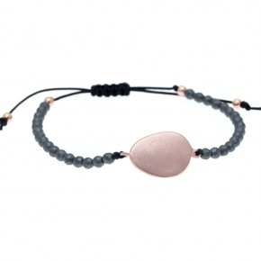 Bracelet out of metal pink gold plated with hematite - Anemos