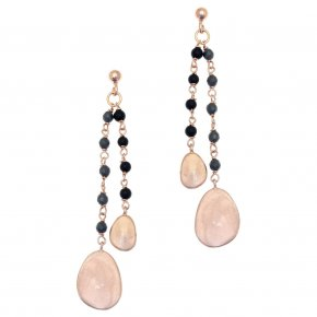 Earrings out of Metal pink gold plated with onyx andhemtite - Anemos