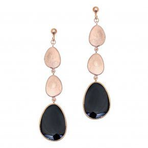 Earrings out of Metal pink gold plated with enamel - Anemos
