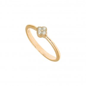 Ring Silver 925 gold plated with white zirconia - Mitos