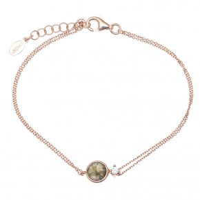 Bracelet in silver 925, pink gold plated with labradorite andwhite zirconia - Petra