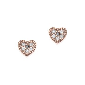 Earrings in silver 925 pink gold plated with white zirconia - Mitos