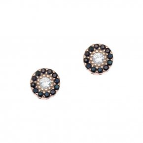 Earrings in silver 925, pink gold plated with colored zirconia - Helios