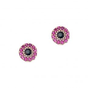 Earrings in silver 925 pink gold plated with colored zirconia - Helios