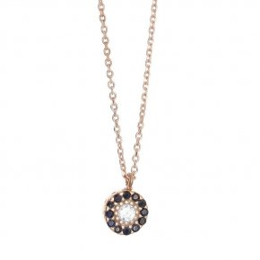 Necklace in silver 925, pink gold plated with coloredzirconia - Helios