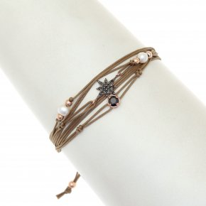 Cord Bracelet in silver 925, pink gold plated with blackspinel - Aegis