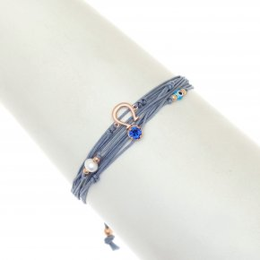 Cord Bracelet in silver 925 pink gold plated with crystals - Aegis