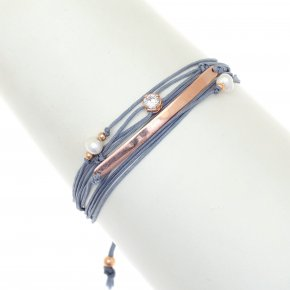 Cord Bracelet in silver 925 pink gold plated with white zirconia - Aegis
