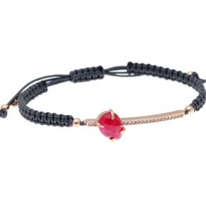 Cord Bracelet in silver 925, pink gold plated with ruby andwhite zirconia - Nymfes