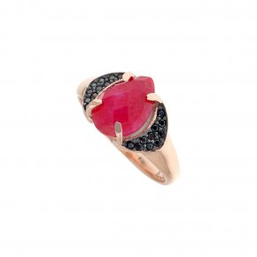 Ring Silver 925, pink gold plated with ruby andblack spinel - Nymfes