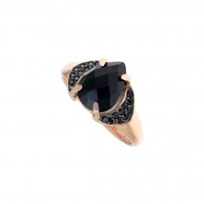 Ring Silver 925, pink gold plated with onyx and black spinel - Nymfes