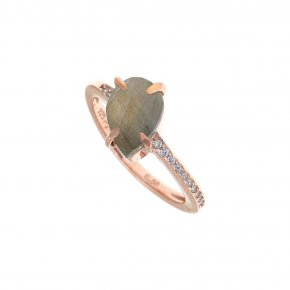 Ring Silver 925 pink gold plated with labradorite and white zirconia - Nymfes