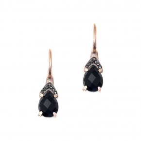 Earrings in silver 925 pink gold plated with onyx and black spinel - Nymfes