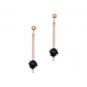 Earrings in silver 925, pink gold plated with onyx and white zirconia - Nymfes