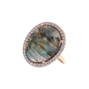 Ring Silver 925, pink gold plated with labradorite and white zirconia - Nymfes