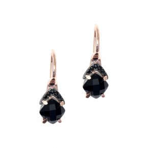 Earrings in silver 925, pink gold plated with onyx and blackspinel - Nymfes
