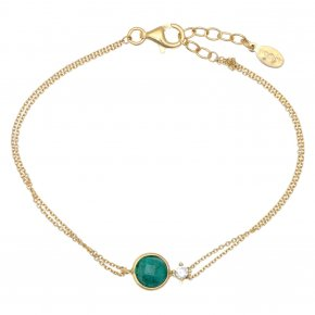 Bracelet in silver 925 pink gold plated with emerald and white zirconia - Petra