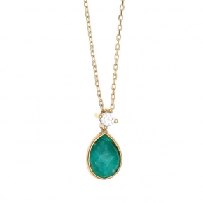 Necklace in silver 925 pink gold plated with emerald and white zirconia - Petra