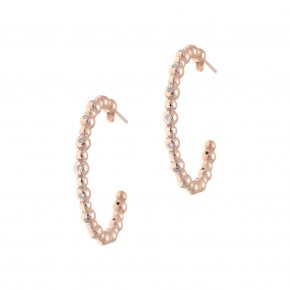Earrings in silver 925 pink gold plated with white zirconia - Amalthia